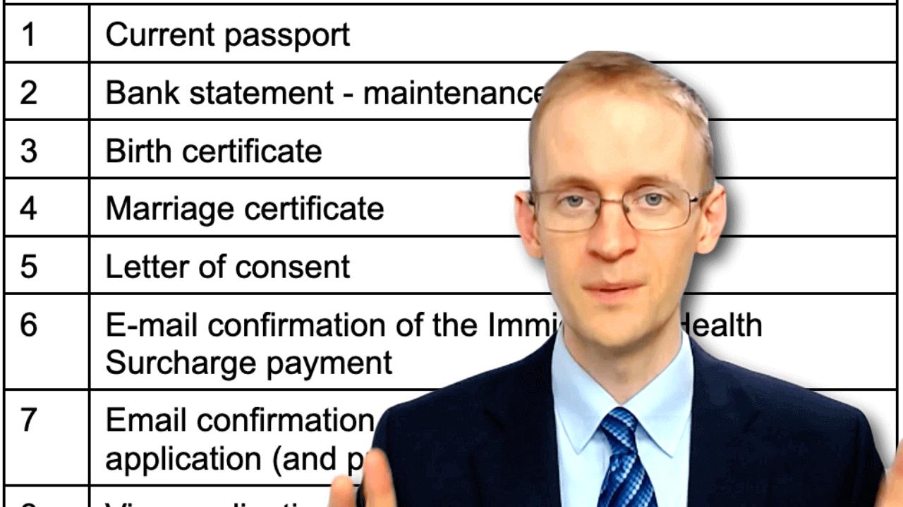 Document checklist for UK dependent visa